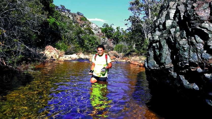 Les compétiteurs devront marcher dans la rivière sur environ 300 mètres avant d'atteindre le PC2.Photo I.C.
